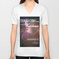 "sagan V-neck T-shirts featuring ""Exploration is in Our Nature"" Carl Sagan Quote by kishbish"