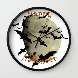 Happy Halloween  Bats and Haunting Moon Wall Clock