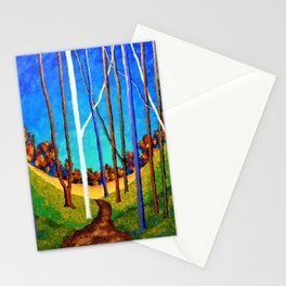 Twilight Woods by Mike Kraus - art trees red orange yellow blue forest woods nature hikes hiking Stationery Cards
