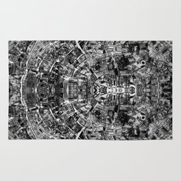 Mirrored Black and White Cityplan Rug