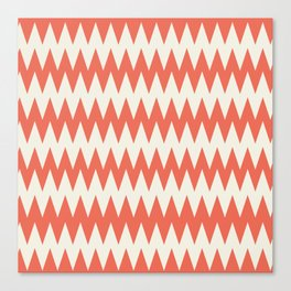 Pantone Cannoli Cream Soft Zigzag Pointed Rippled Horizontal Lines on Living Coral Canvas Print