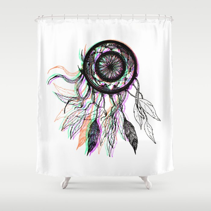 Modern Artistic Native American Dreamcatcher Shower Curtain