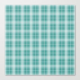 Color of The Day Lagoon Green Tartan Plaid Check Canvas Print