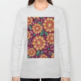 Retro Flowers on Dark Pink Long Sleeve T-shirt