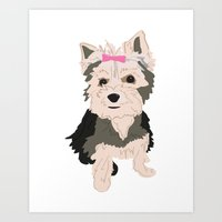 yorkie Art Prints featuring YORKIE by Pretty Sweet Life: THE PRINT SHOP