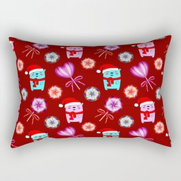 Funny baby bears with red Santa hats, vintage retro lollipops candy. Cute winter Christmas pattern Rectangular Pillow