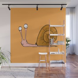 Funny snail with silly face expression Wall Mural