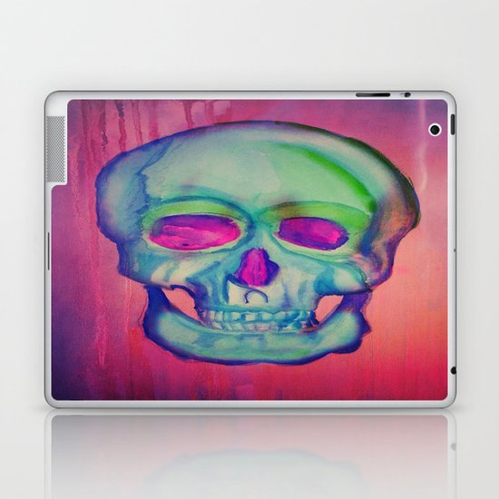 Watercolor skull/Blue Laptop & iPad Skin