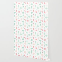 cute colorful summer pattern with seashells and starfishes Wallpaper