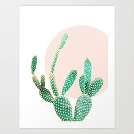 Cacti, Cactus decor, Pastel, Plant, Pink, Minimal, Interior, Wall art Art Print