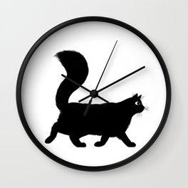 Walking Black Cat Wall Clock