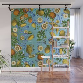vintage lemons and oranges on ribbons of blue Wall Mural