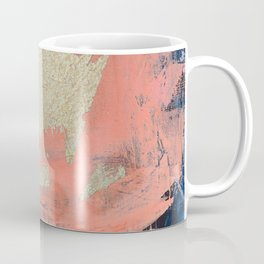Edge of Reason: a minimal abstract mixed-media piece in pink blue and gold by Alyssa Hamilton Art Coffee Mug