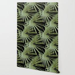 Green On Black Tropical Vibes Beach Palmtree Vector Wallpaper