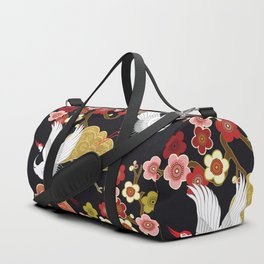 Japanese crane bird hand drawn illustration pattern on dark background.  Duffle Bag