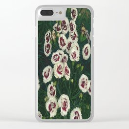 Red & White Flowers Clear iPhone Case