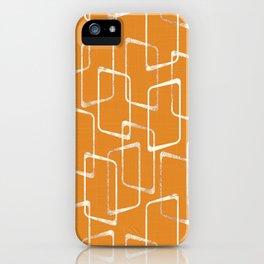 Retro Orange Lino Print Geometric Pattern iPhone Case