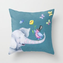 Elly and Chirp Throw Pillow
