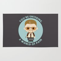 big lebowski Area & Throw Rugs featuring Big Lebowski - Walter Superdeformed by Cloudsfactory