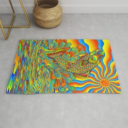 Psychedelic Rainbow Trout Fish Rug