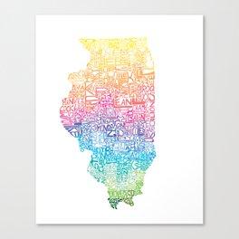 Typographic Illinois - Spring Canvas Print