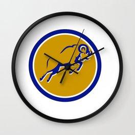 Bighorn Sheep Jumping Circle Retro Wall Clock