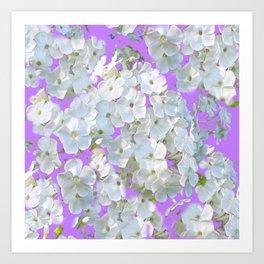DELICATE LILAC & WHITE LACE FLORAL GARDEN PATTERNS Art Print