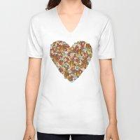 breakfast V-neck T-shirts featuring Breakfast by Julia Emiliani