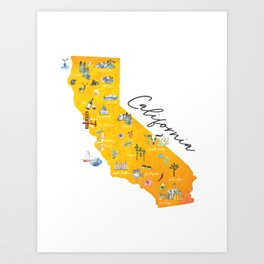 Map of California - All artist proceeds will be donated to the California Wildfire Relief Fund Art Print