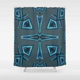 Blue Kaleido Palm Shower Curtain