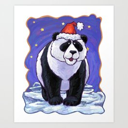 Panda Bear Christmas Art Print