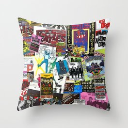 British Rock and Roll Invasion Fab Four Vintage Concert Rock and Roll Painting Collage portrait Throw Pillow