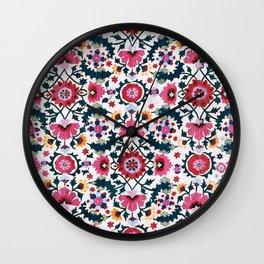 Shakhrisyabz Suzani Uzbekistan Embroidery Print Wall Clock