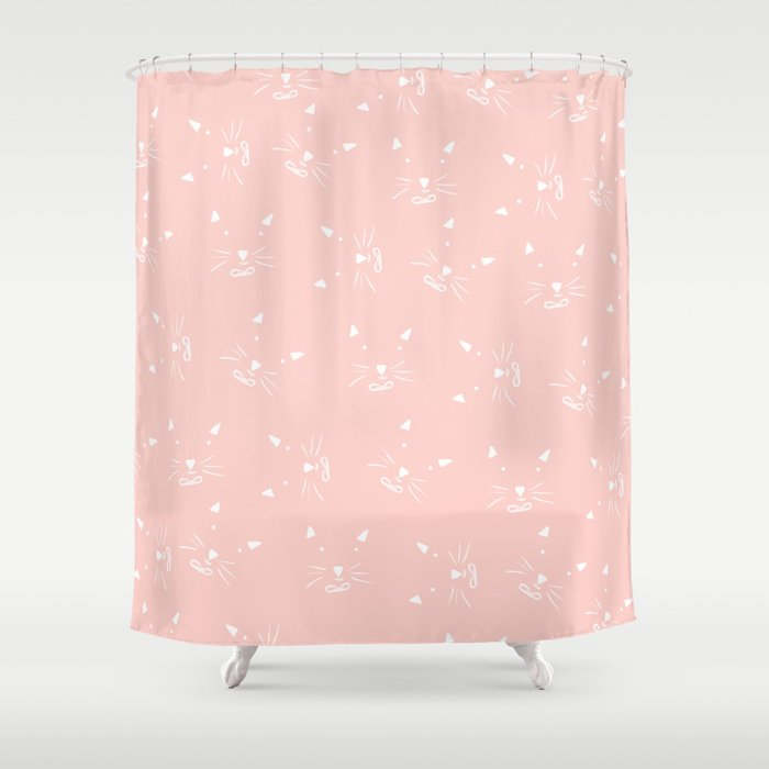 Cute Girly Hand Drawn Abstract Cat Face On Pastel Pink Shower Curtain By Girlytrend