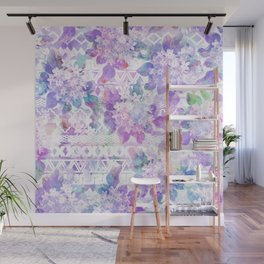 Lavender lilac pink white watercolor aztec floral Wall Mural