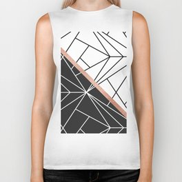 Modern geometrical abstract rose gold black white stripes Biker Tank