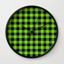Lawn Green  Bison Plaid Wall Clock