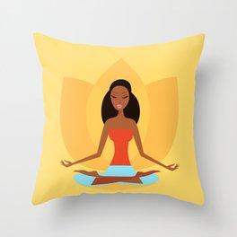 Wellness woman on gold Throw Pillow