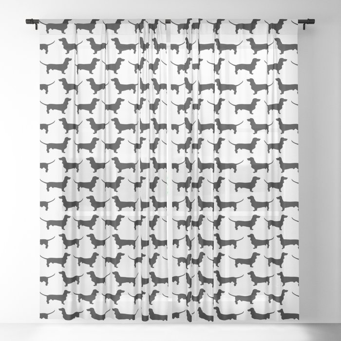 Dachshund Silhouette Black and White Pattern Sheer Curtain