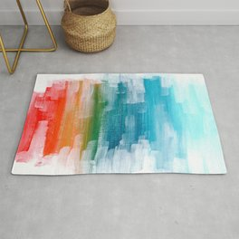 Ejaaz Haniff Colorful Abstract Acrylic Painting 'Lost Paradise' Rug
