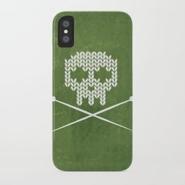 Knitted Skull - White on Olive Green iPhone Case