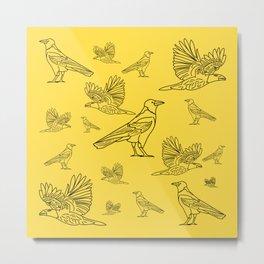 Ravens. Background of birds in different variations. Metal Print
