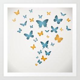 Butterfly Blue And Yellow Butterflies Art Print