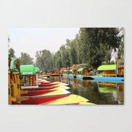 Trajineras Along the River Canvas Print