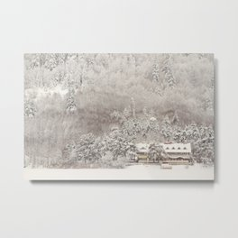 View of a chalet motel near the lake of abant Metal Print