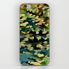 Foliage Abstract In Green, Peach and Phthalo Blue iPhone & iPod Skin