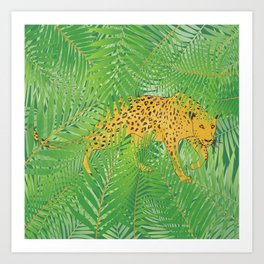 Leopard with tropical leaves Art Print