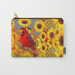 MODERN ABSTRACT RED CARDINAL YELLOW SUNFLOWERS GREY ART Carry-All Pouch