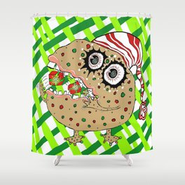 Christmas Fruitcake Monster, green lattice background Shower Curtain