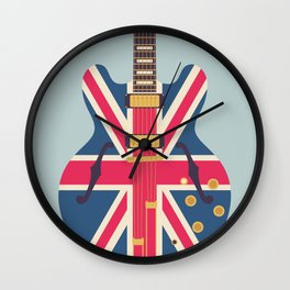 Union Jack Flag Guitar - Slate Wall Clock